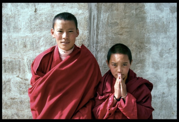 Two young monks at Barcor in Lhasa