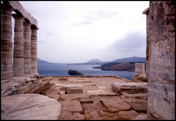 View of remote Greek harbor from ruins